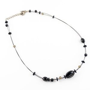 Black Glass Beaded Illusion Wire Wrapped Necklace